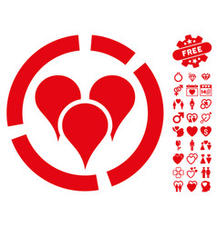 Geo targeting diagram icon with valentine bonus vector