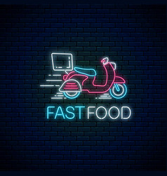 Glowing neon food fast delivery sign vector