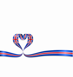 great britain flag heart-shaped ribbon vector image