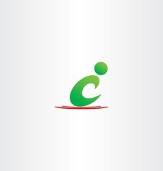 Green man letter c icon c logo symbol vector