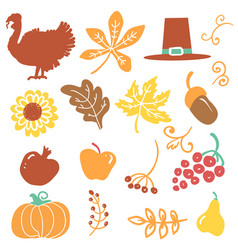 happy thanksgiving day objects beautiful vector image