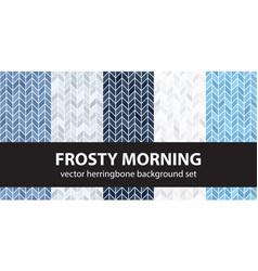 Herringbone pattern set frosty morning seamless vector