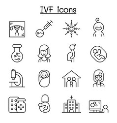 ivf in vitro fertilization icon set in thin line vector image