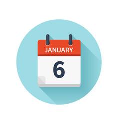 January 6 flat daily calendar icon date vector