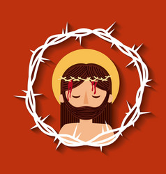 Jesus christ with crown thorns sacred image vector