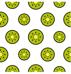 Kiwi fruit slices seamless green pattern on white vector