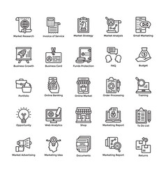 Market and economy line icons vector