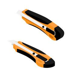 orange office stationery knife isolated on white vector image