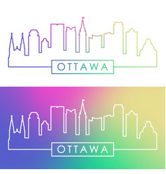 Ottawa skyline colorful linear style editable vector