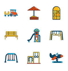 Outdoor entertainment icons set flat style vector