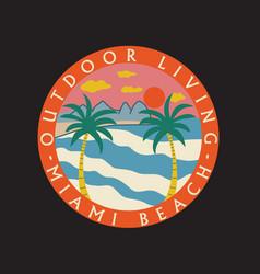 outdoor living miami beach retro artwork de vector image