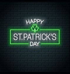 patrick day neon banner clover neon sign vector image