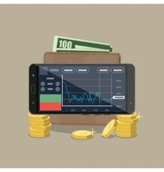 Phone with trading application coins wallet vector image