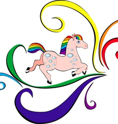 playful rainbow horse vector image