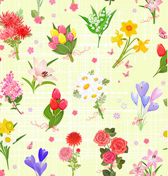 pretty seamless texture with different bouquet of vector image