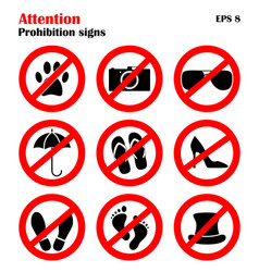 prohibition sign icons collection set of vector image