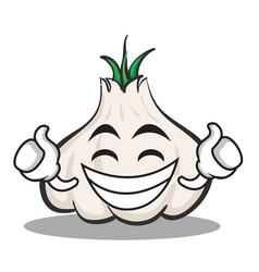 Proud face garlic cartoon character vector
