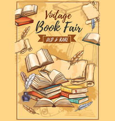 Rarity books fair and vintage bookstore sketch vector