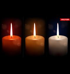 Realistic big colorful wax candles set vector