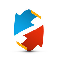 red and blue paper arrows up and down arrow vector image