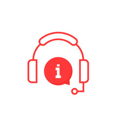 Red info service hotline icon vector