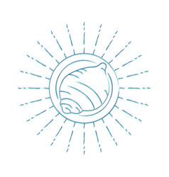 retro sea shell line art icon for summer vacation vector image