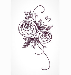 roses stylized flower bouquet hand drawing vector image