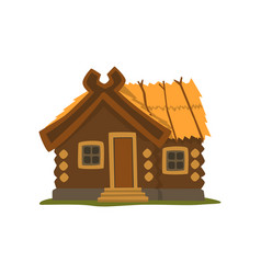 rustic wooden log cabin on a vector image