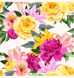 Seamless pattern with pink and yellow flowers vector