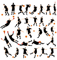 Set detail soccer silhouettes vector