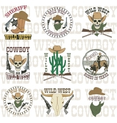 Set of wild west vector image