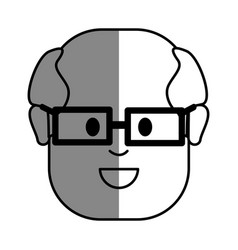 Silhouette old face man with glasses vector