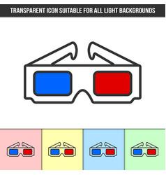Simple outline transparent anaglyphic 3d glasses vector