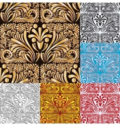 Six Floral Seamless Pattern Background vector