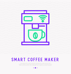 smart coffee maker thin line icon vector image