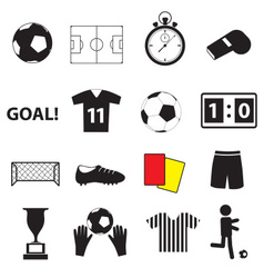 soccer football simple black icons set eps10 vector image