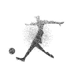 soccer player particle splash poster silhouette vector image