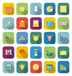 Stock market color icons with long shadow vector image