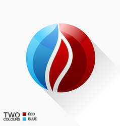 symbol fire Blue and red round glass icon with vector image