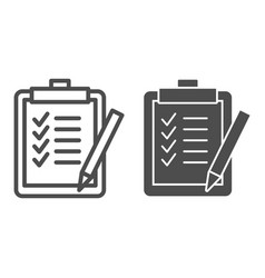 Task list line and glyph icon clipboard vector