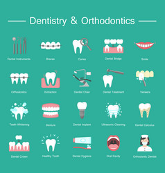 teeth dentistry medical flat icons vector image