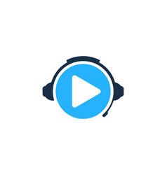 Video podcast logo icon design vector
