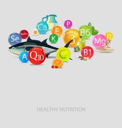Vitamins minerals and food vector