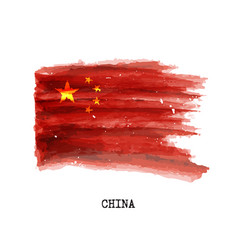 Watercolor painting flag of china vector