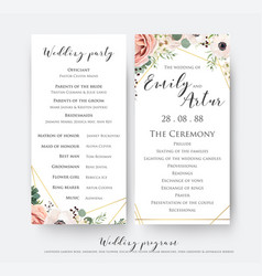 Wedding program for party and ceremony card vector