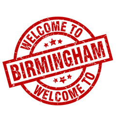 Welcome to birmingham red stamp vector