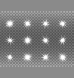 White glowing stars set light explosions on vector