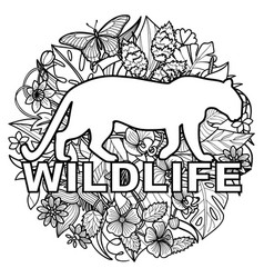 wildlife coloring page with leopard and tropical vector image