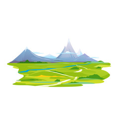 Winding way to the mountains vector