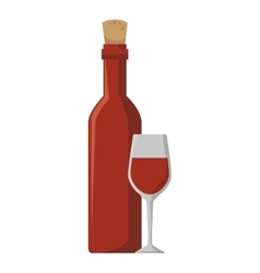wine bottle and cup kitchen tool isolated icon vector image